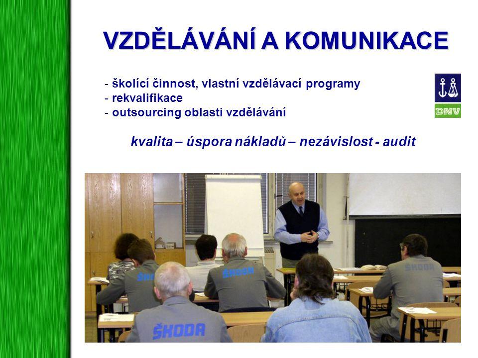 VZDĚLÁVÁNÍ A KOMUNIKACE - školící činnost, vlastní vzdělávací programy - rekvalifikace - outsourcing oblasti vzdělávání kvalita – úspora nákladů – nez