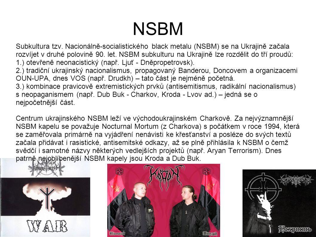 NSBM Subkultura tzv. Nacionálně-socialistického black metalu (NSBM) se na Ukrajině začala rozvíjet v druhé polovině 90. let. NSBM subkulturu na Ukraji