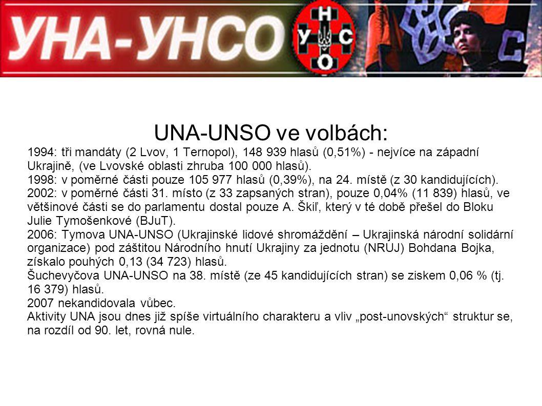 UNA-UNSO ve volbách: 1994: tři mandáty (2 Lvov, 1 Ternopol), 148 939 hlasů (0,51%) - nejvíce na západní Ukrajině, (ve Lvovské oblasti zhruba 100 000 h
