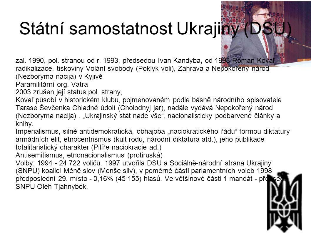Státní samostatnost Ukrajiny (DSU) zal. 1990, pol. stranou od r. 1993, předsedou Ivan Kandyba, od 1993 Roman Koval' - radikalizace, tiskoviny Volání s