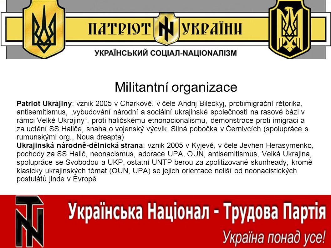 """Militantní organizace Patriot Ukrajiny: vznik 2005 v Charkově, v čele Andrij Bileckyj, protiimigrační rétorika, antisemitismus, """"vybudování národní a"""