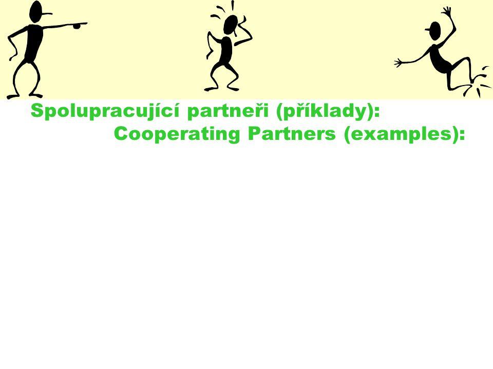 Spolupracující partneři (příklady): Cooperating Partners (examples):