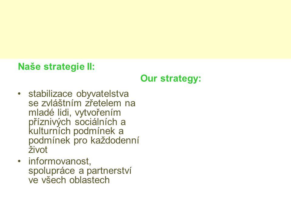 Naše strategie II: Our strategy: stabilizace obyvatelstva se zvláštním zřetelem na mladé lidi, vytvořením příznivých sociálních a kulturních podmínek a podmínek pro každodenní život informovanost, spolupráce a partnerství ve všech oblastech