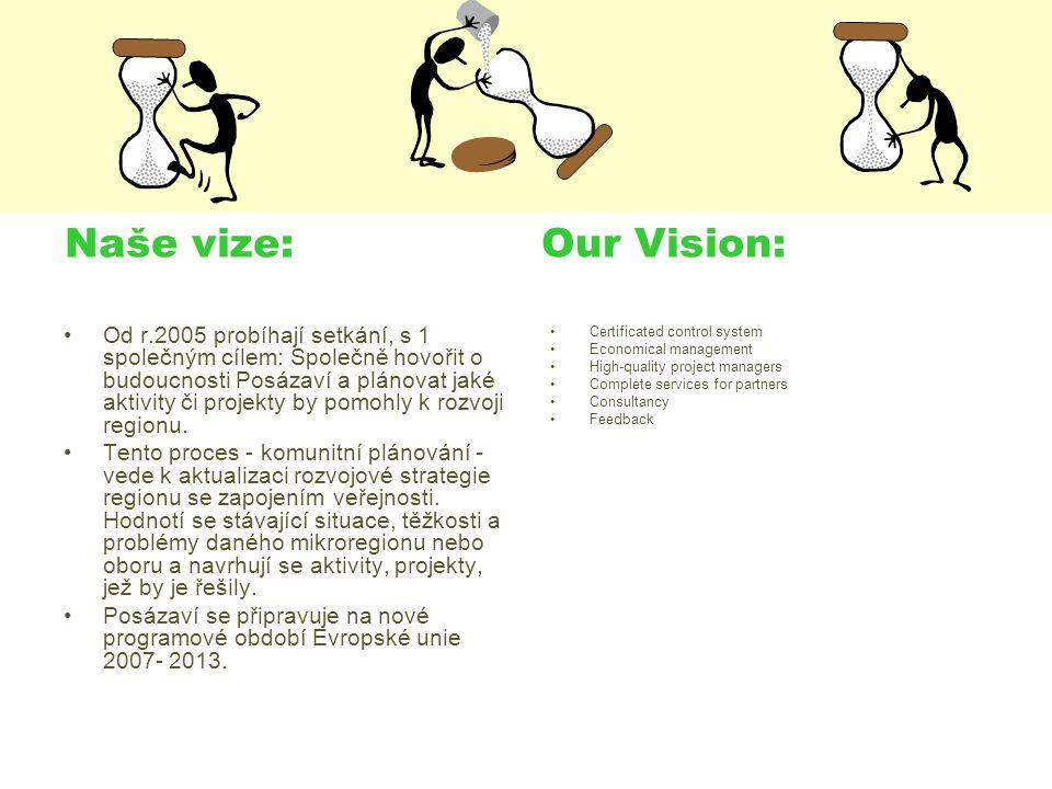 Naše vize: Our Vision: Od r.2005 probíhají setkání, s 1 společným cílem: Společně hovořit o budoucnosti Posázaví a plánovat jaké aktivity či projekty by pomohly k rozvoji regionu.