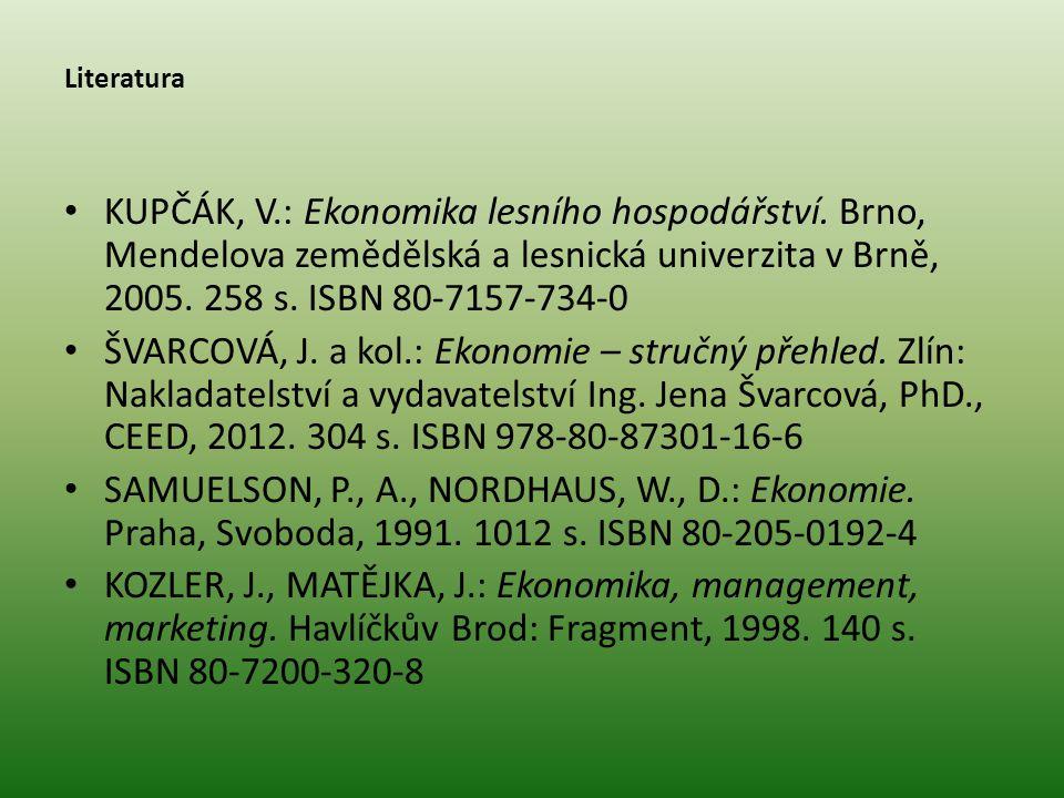 Literatura KUPČÁK, V.: Ekonomika lesního hospodářství. Brno, Mendelova zemědělská a lesnická univerzita v Brně, 2005. 258 s. ISBN 80-7157-734-0 ŠVARCO