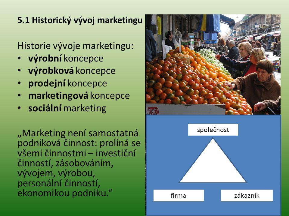 5.1 Historický vývoj marketingu Historie vývoje marketingu: výrobní koncepce výrobková koncepce prodejní koncepce marketingová koncepce sociální marke