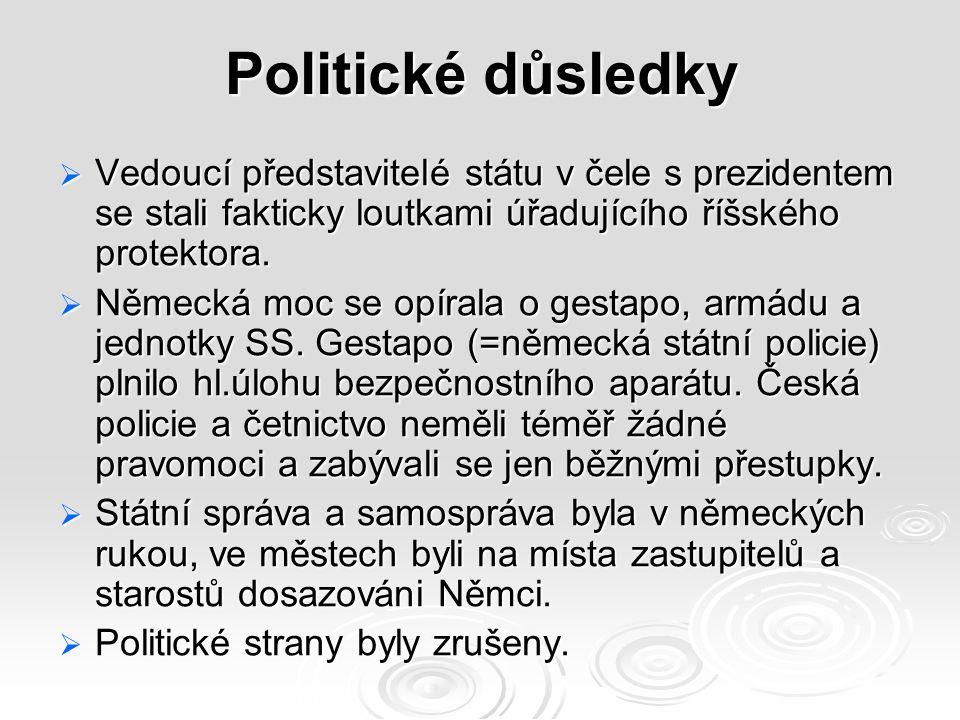 Politické důsledky  Vedoucí představitelé státu v čele s prezidentem se stali fakticky loutkami úřadujícího říšského protektora.
