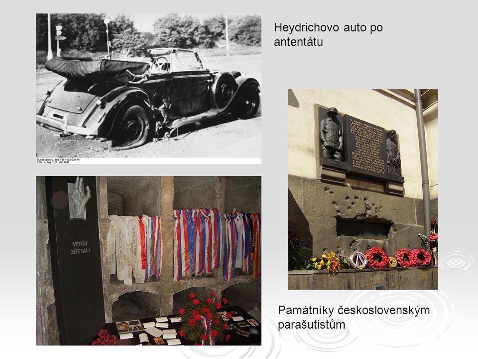 Památníky československým parašutistům Heydrichovo auto po antentátu