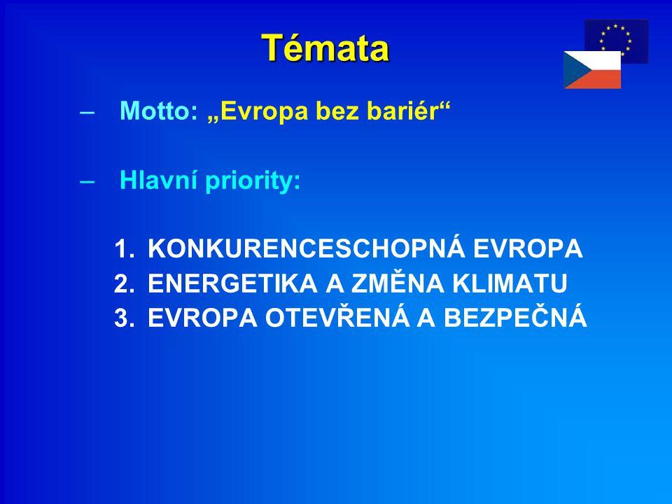 """Témata –Motto: """"Evropa bez bariér –Hlavní priority: 1.KONKURENCESCHOPNÁ EVROPA 2.ENERGETIKA A ZMĚNA KLIMATU 3.EVROPA OTEVŘENÁ A BEZPEČNÁ"""