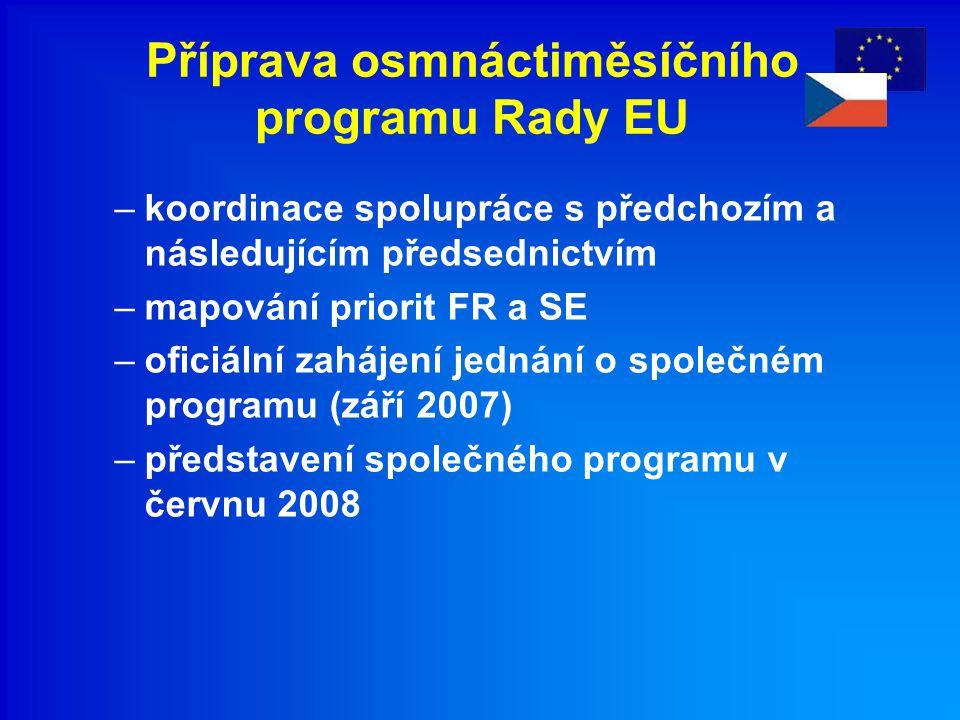 Příprava osmnáctiměsíčního programu Rady EU –koordinace spolupráce s předchozím a následujícím předsednictvím –mapování priorit FR a SE –oficiální zahájení jednání o společném programu (září 2007) –představení společného programu v červnu 2008