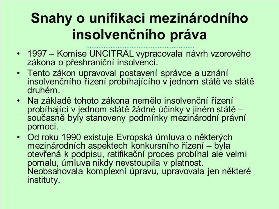 Snahy o unifikaci mezinárodního insolvenčního práva 1997 – Komise UNCITRAL vypracovala návrh vzorového zákona o přeshraniční insolvenci. Tento zákon u