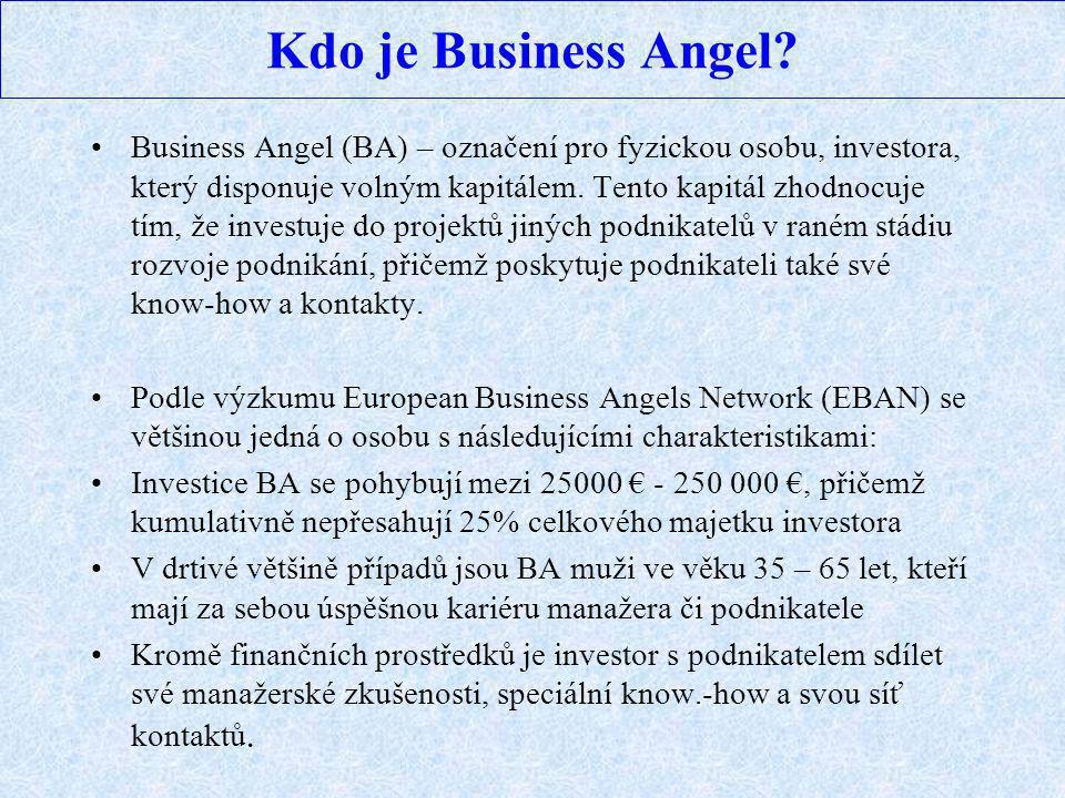 Kdo je Business Angel? Business Angel (BA) – označení pro fyzickou osobu, investora, který disponuje volným kapitálem. Tento kapitál zhodnocuje tím, ž