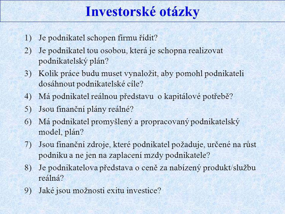 Investorské otázky 1)Je podnikatel schopen firmu řídit? 2)Je podnikatel tou osobou, která je schopna realizovat podnikatelský plán? 3)Kolik práce budu