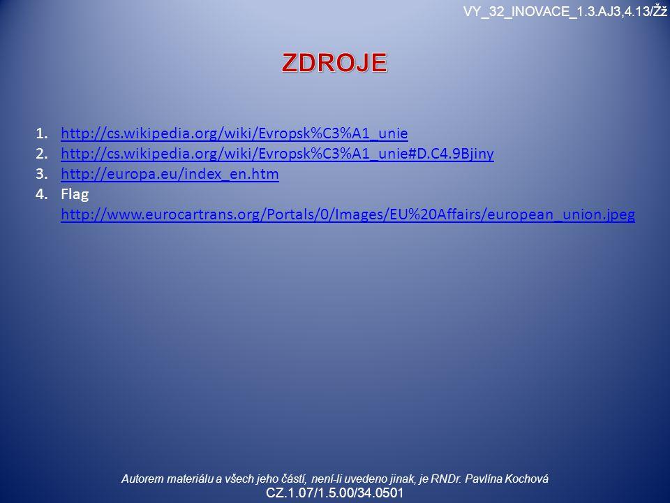 Autorem materiálu a všech jeho částí, není-li uvedeno jinak, je RNDr. Pavlína Kochová CZ.1.07/1.5.00/34.0501 VY_32_INOVACE_1.3.AJ3,4.13/Žž 1.http://cs