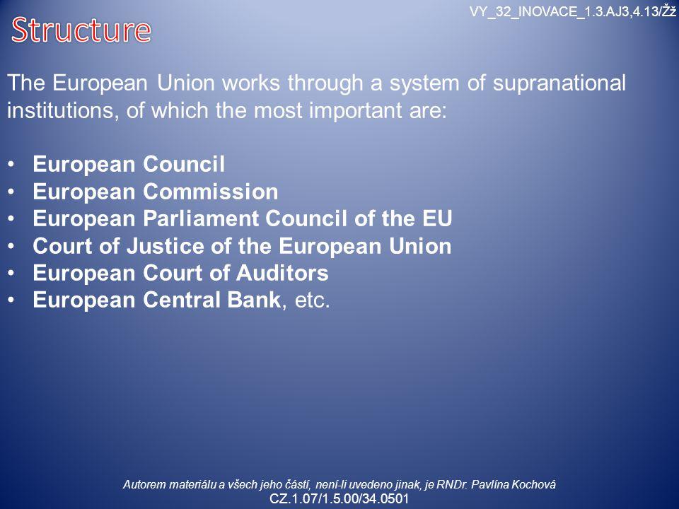 Autorem materiálu a všech jeho částí, není-li uvedeno jinak, je RNDr. Pavlína Kochová CZ.1.07/1.5.00/34.0501 VY_32_INOVACE_1.3.AJ3,4.13/Žž The Europea