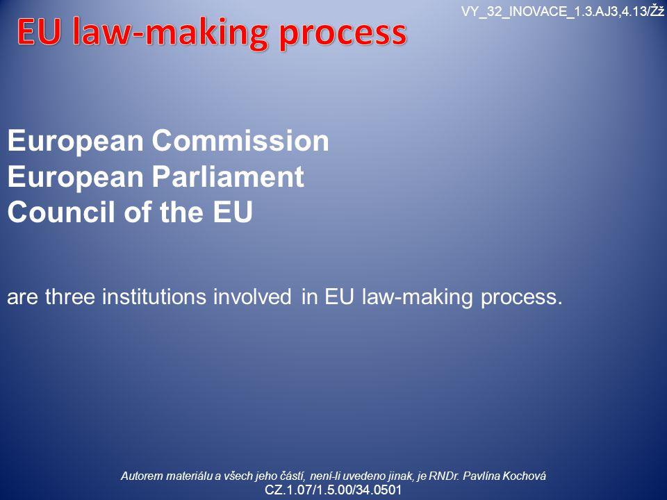 Autorem materiálu a všech jeho částí, není-li uvedeno jinak, je RNDr. Pavlína Kochová CZ.1.07/1.5.00/34.0501 VY_32_INOVACE_1.3.AJ3,4.13/Žž European Co