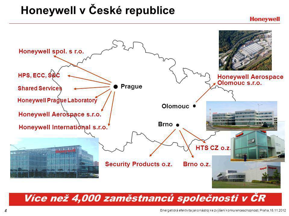 """5 Energetická efektivita jako nástroj ke zvýšení konkurenceschopnosti, Praha,15.11.2012 Evropské normy určují energetickou účinnost Energetická účinnost se stává stále důležitější… - Legislativa  European Směrnice """"EPBD (Energy performance of Buildings) + národní normy definují požadavky na energetickou účinnost budov Cílem je analyzovat a snižovat spotřebu energie »Docílit 28% úspor v budovách »Snížení celkové energetické spotřeby EU o 11% »Požadavky na Monitoring / Energetické štítky - Životní prostředí  Spalování paliv produkuje skleníkový plyn CO 2,  Globální oteplování  Klimatické změny - Ekonomika  Náklady na energie – každoroční enormní nárůst  Budoucí trend je neměnný až akcelerující  Vysoká závislost na dovozu  Výhody pro efektivní budovy"""