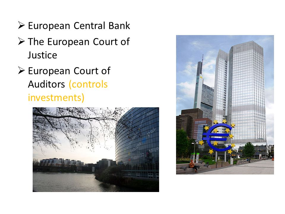  European Central Bank  The European Court of Justice  European Court of Auditors (controls investments)