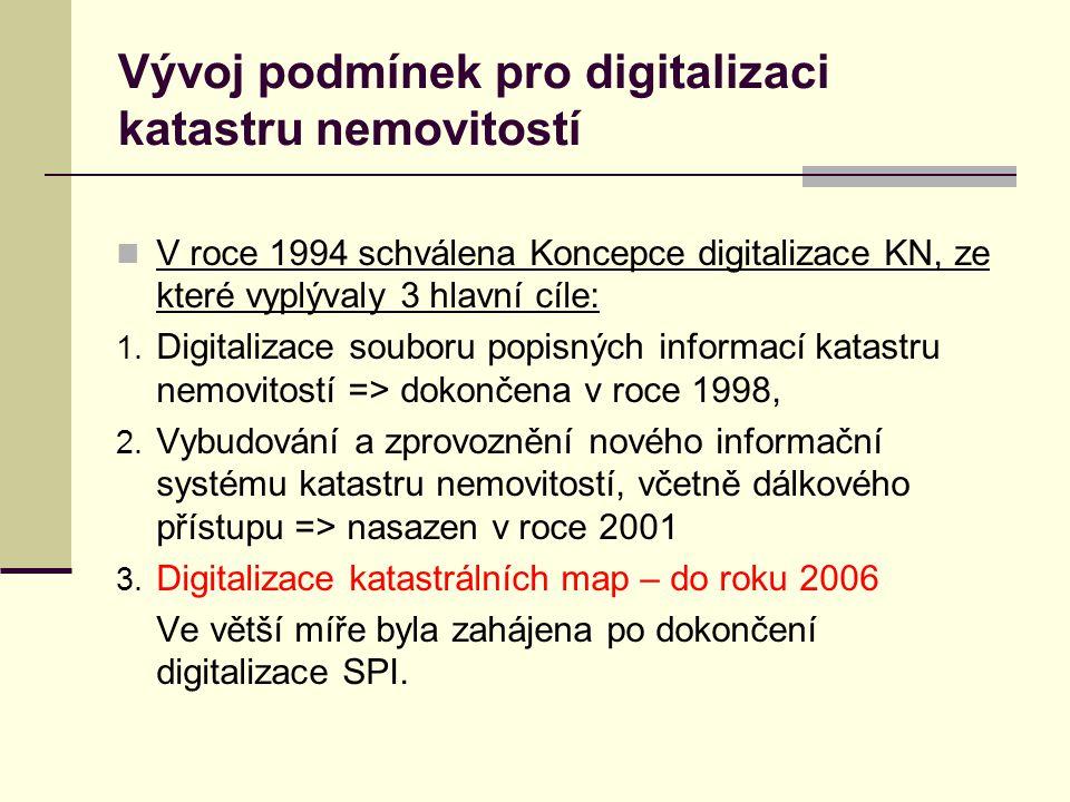 Vývoj podmínek pro digitalizaci katastru nemovitostí V roce 1994 schválena Koncepce digitalizace KN, ze které vyplývaly 3 hlavní cíle: 1.