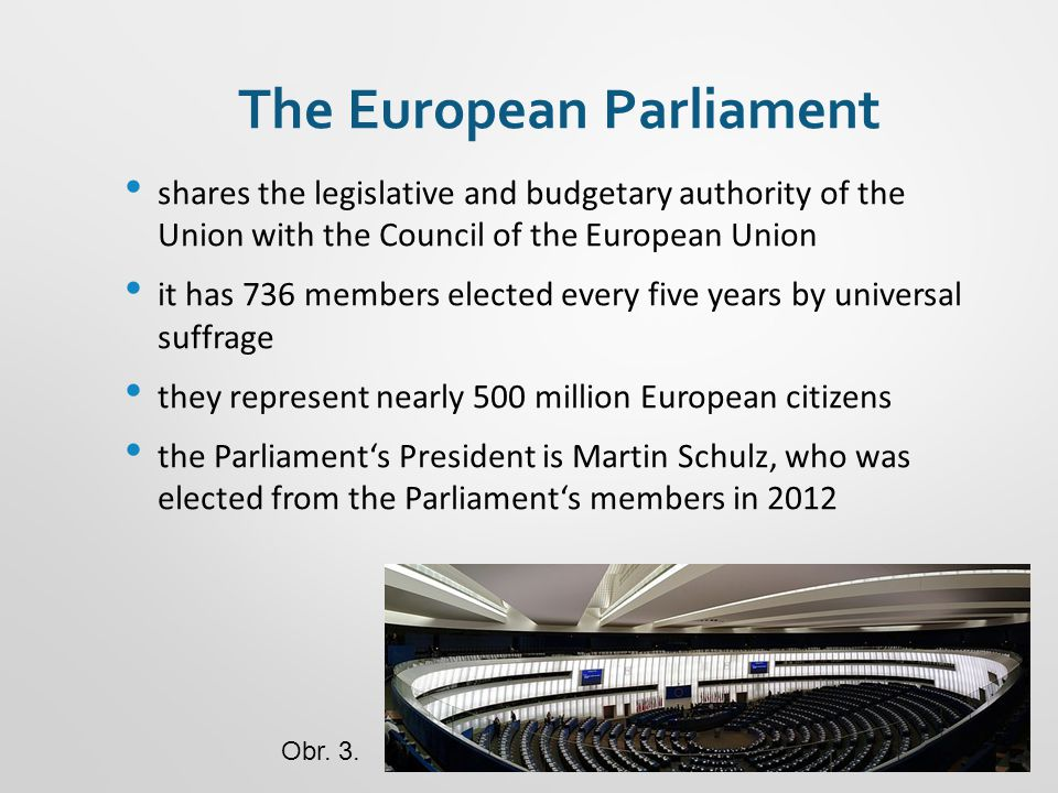 The European Parliament shares the legislative and budgetary authority of the Union with the Council of the European Union it has 736 members elected every five years by universal suffrage they represent nearly 500 million European citizens the Parliament's President is Martin Schulz, who was elected from the Parliament's members in 2012 Obr.