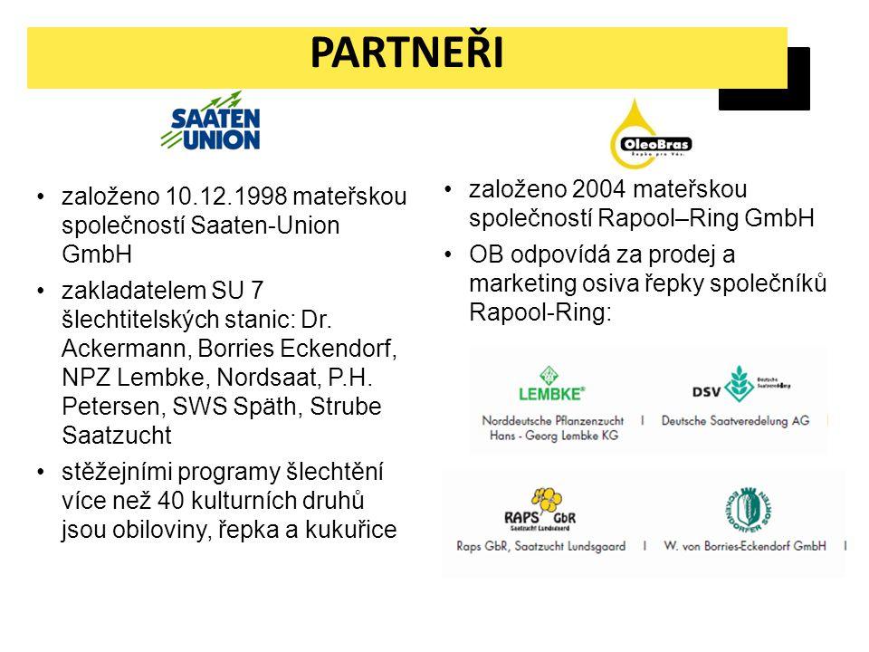 PARTNEŘI založeno 10.12.1998 mateřskou společností Saaten-Union GmbH zakladatelem SU 7 šlechtitelských stanic: Dr. Ackermann, Borries Eckendorf, NPZ L