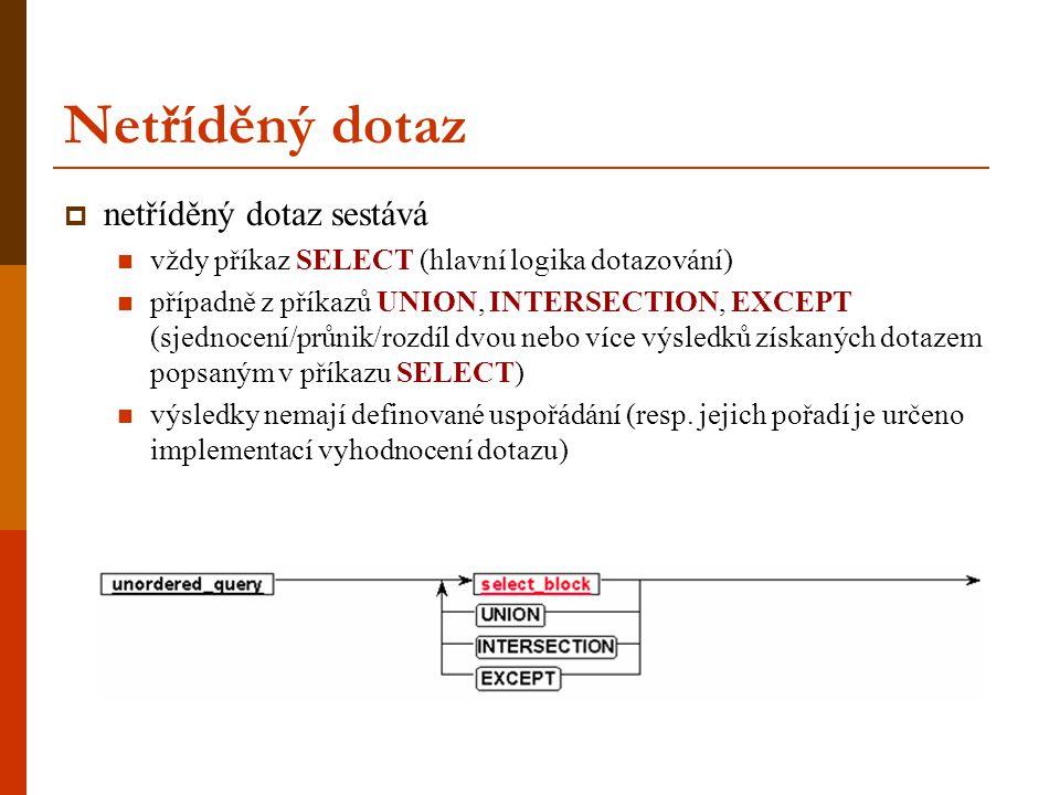Netříděný dotaz  netříděný dotaz sestává vždy příkaz SELECT (hlavní logika dotazování) případně z příkazů UNION, INTERSECTION, EXCEPT (sjednocení/průnik/rozdíl dvou nebo více výsledků získaných dotazem popsaným v příkazu SELECT) výsledky nemají definované uspořádání (resp.