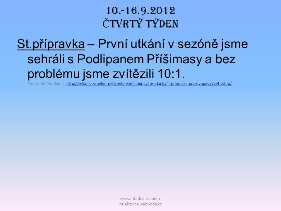 www.mladez-skunion- celakovice.webnode.cz 10.-16.9.2012 Č tvrtý TÝDEN St.přípravka – První utkání v sezóně jsme sehráli s Podlipanem Příšimasy a bez p