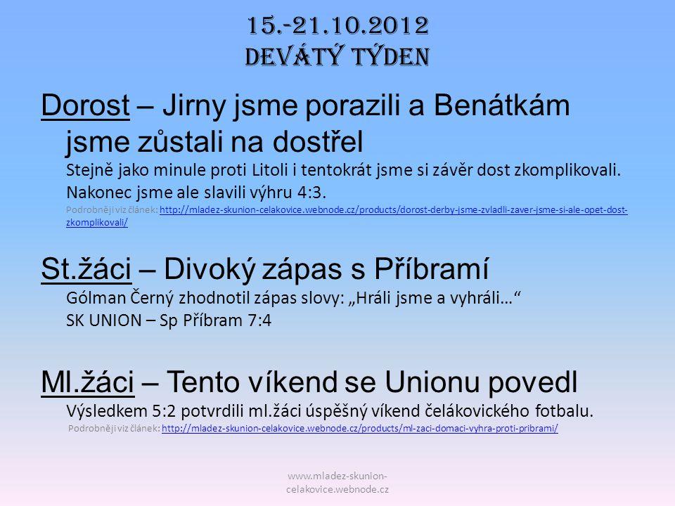 15.-21.10.2012 Devátý TÝDEN Dorost – Jirny jsme porazili a Benátkám jsme zůstali na dostřel Stejně jako minule proti Litoli i tentokrát jsme si závěr