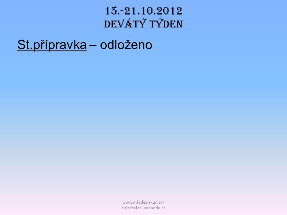 www.mladez-skunion- celakovice.webnode.cz 15.-21.10.2012 Devátý TÝDEN St.přípravka – odloženo