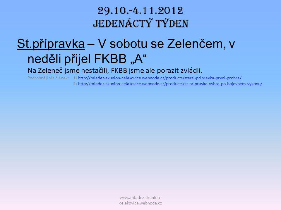"""www.mladez-skunion- celakovice.webnode.cz 29.10.-4.11.2012 Jedenáctý TÝDEN St.přípravka – V sobotu se Zelenčem, v neděli přijel FKBB """"A"""" Na Zeleneč js"""