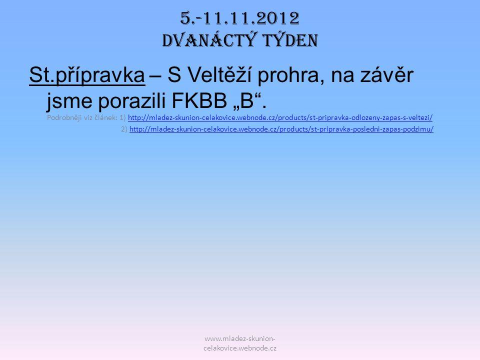 """www.mladez-skunion- celakovice.webnode.cz 5.-11.11.2012 DVAnáctý TÝDEN St.přípravka – S Veltěží prohra, na závěr jsme porazili FKBB """"B"""". Podrobněji vi"""
