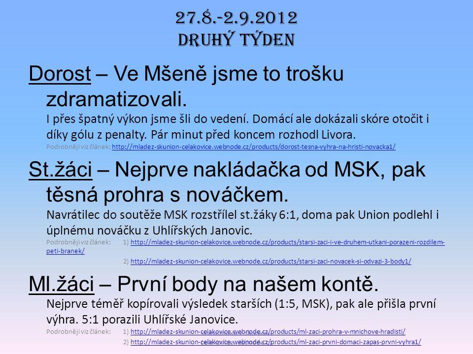www.mladez-skunion- celakovice.webnode.cz DOROST Po sestupu do 1.A třídy bylo naším cílem dát dorost dohromady což se povedlo.