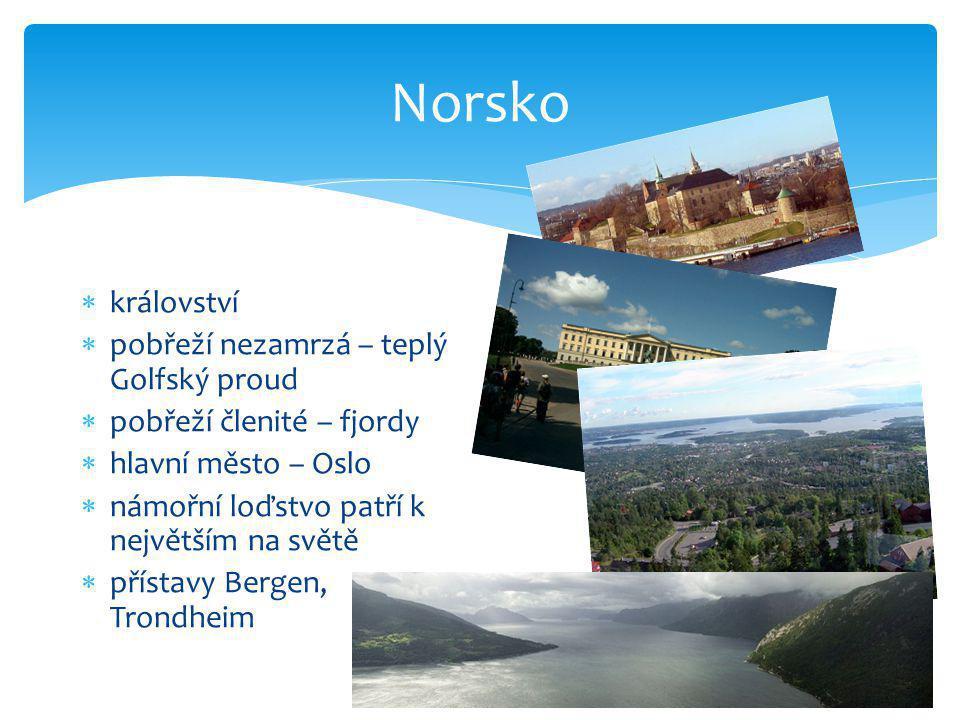 Norsko  království  pobřeží nezamrzá – teplý Golfský proud  pobřeží členité – fjordy  hlavní město – Oslo  námořní loďstvo patří k největším na s