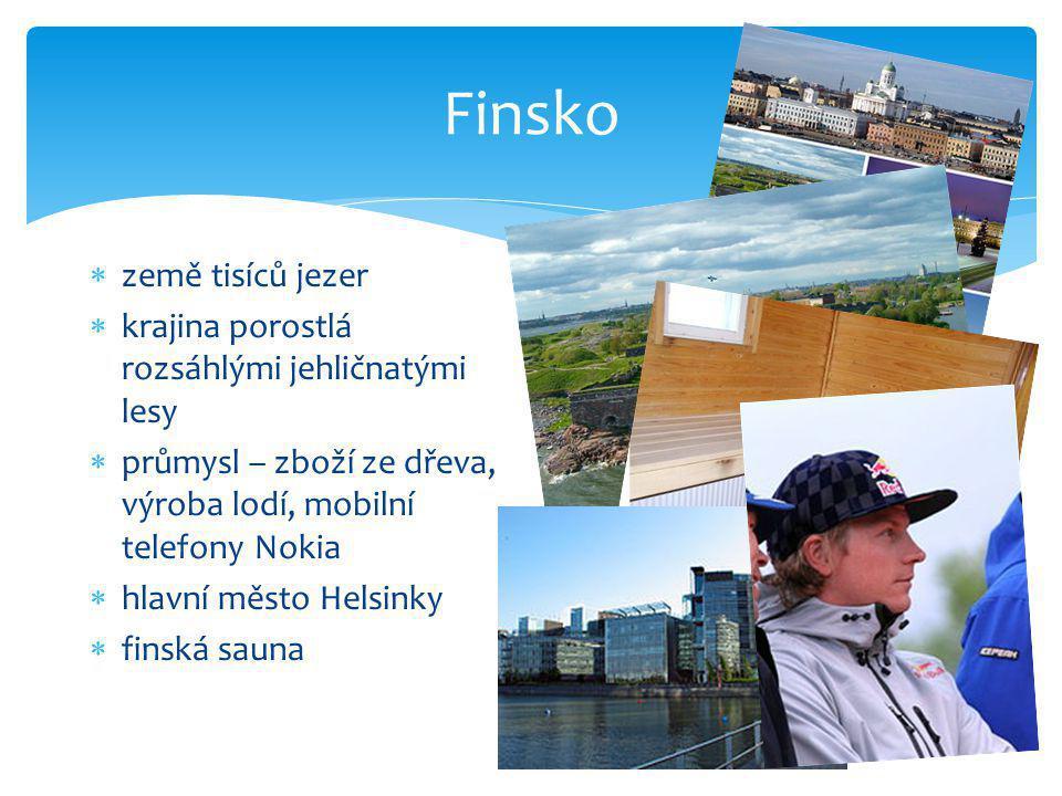 Finsko  země tisíců jezer  krajina porostlá rozsáhlými jehličnatými lesy  průmysl – zboží ze dřeva, výroba lodí, mobilní telefony Nokia  hlavní mě