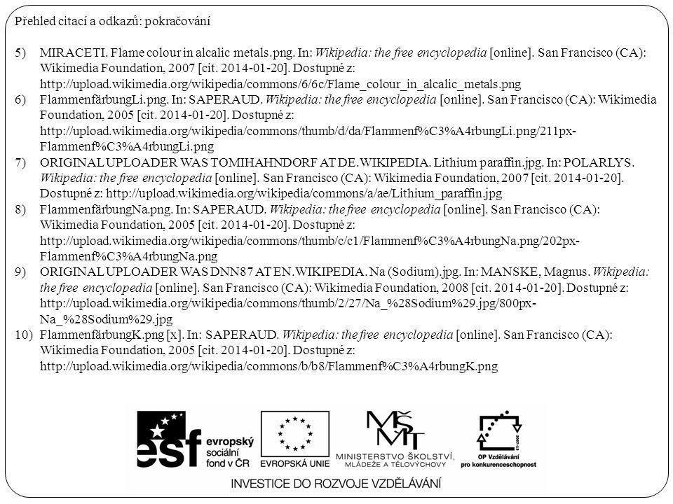 Přehled citací a odkazů: pokračování 5)MIRACETI. Flame colour in alcalic metals.png.