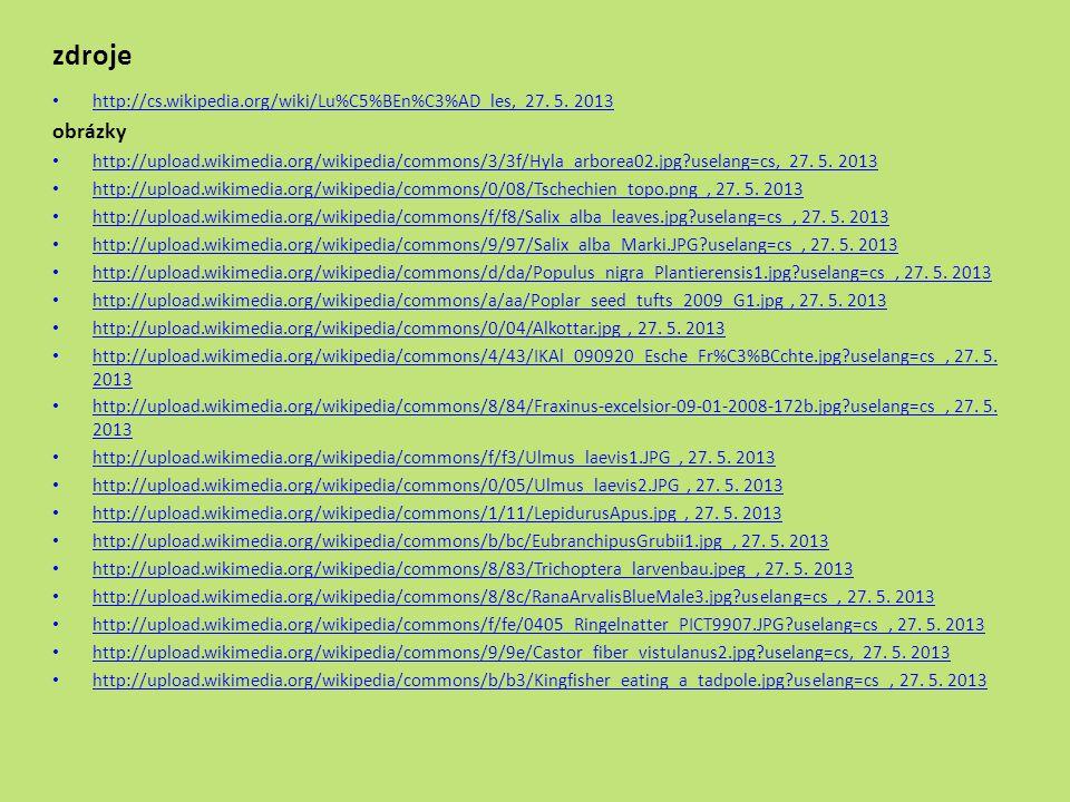 zdroje http://cs.wikipedia.org/wiki/Lu%C5%BEn%C3%AD_les, 27. 5. 2013 http://cs.wikipedia.org/wiki/Lu%C5%BEn%C3%AD_les obrázky http://upload.wikimedia.