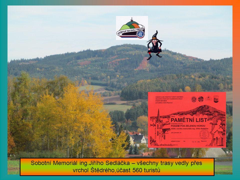 Sobotní Memoriál ing.Jiřího Sedláčka – všechny trasy vedly přes vrchol Štědrého,účast 560 turistů