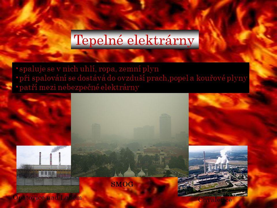 Tepelné elektrárny spaluje se v nich uhlí, ropa, zemní plyn při spalování se dostává do ovzduší prach,popel a kouřové plyny patří mezi nebezpečné elek