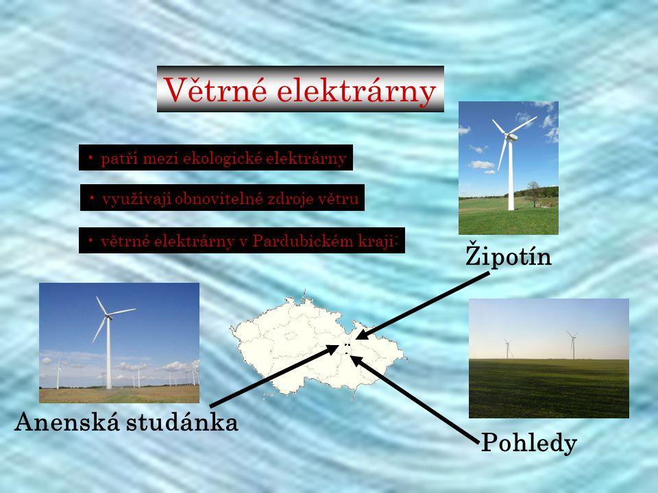 Větrné elektrárny patří mezi ekologické elektrárny využívají obnovitelné zdroje větru větrné elektrárny v Pardubickém kraji: Žipotín Pohledy Anenská s