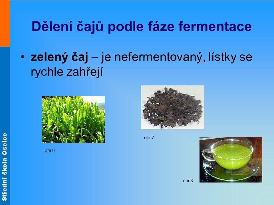 Střední škola Oselce Dělení čajů podle fáze fermentace zelený čaj – je nefermentovaný, lístky se rychle zahřejí obr.6 obr.7 obr.8