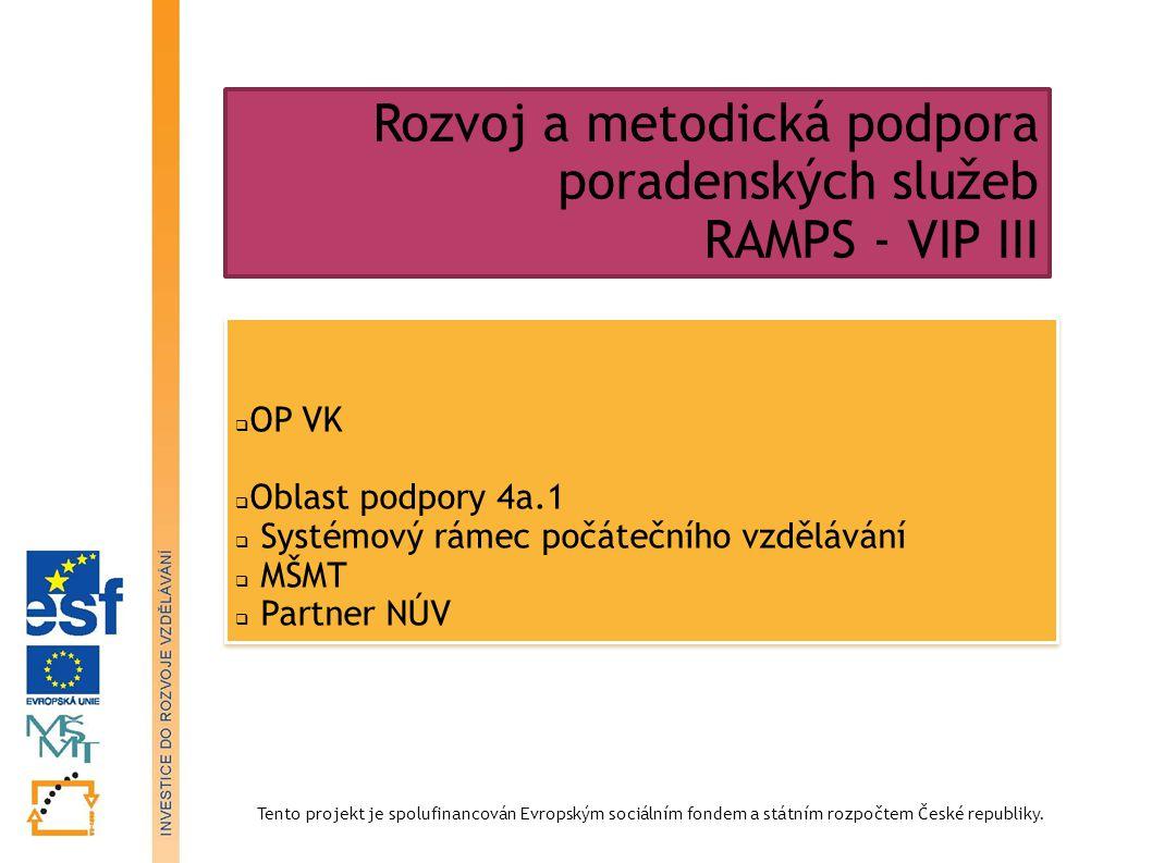 Tento projekt je spolufinancován Evropským sociálním fondem a státním rozpočtem České republiky. Rozvoj a metodická podpora poradenských služeb RAMPS