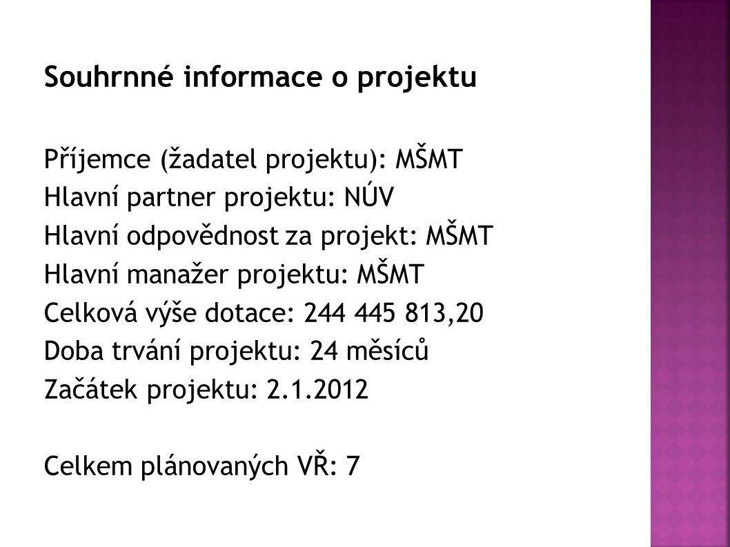 Souhrnné informace o projektu Příjemce (žadatel projektu): MŠMT Hlavní partner projektu: NÚV Hlavní odpovědnost za projekt: MŠMT Hlavní manažer projek