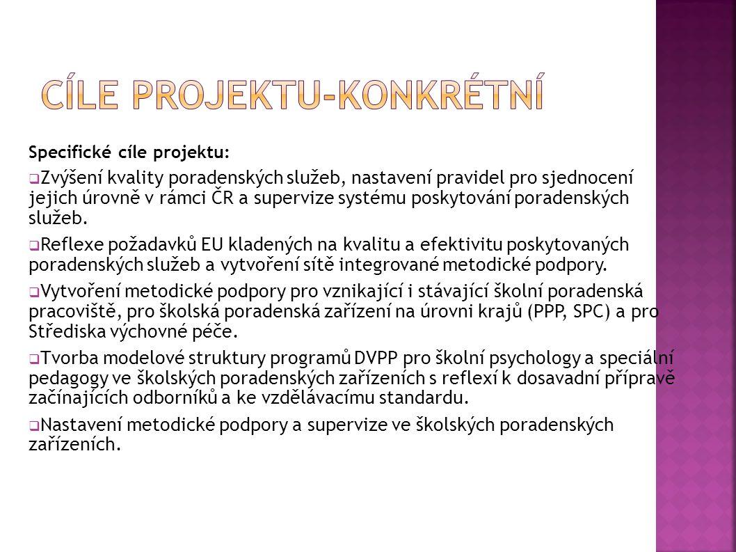 Specifické cíle projektu:  Zvýšení kvality poradenských služeb, nastavení pravidel pro sjednocení jejich úrovně v rámci ČR a supervize systému poskytování poradenských služeb.