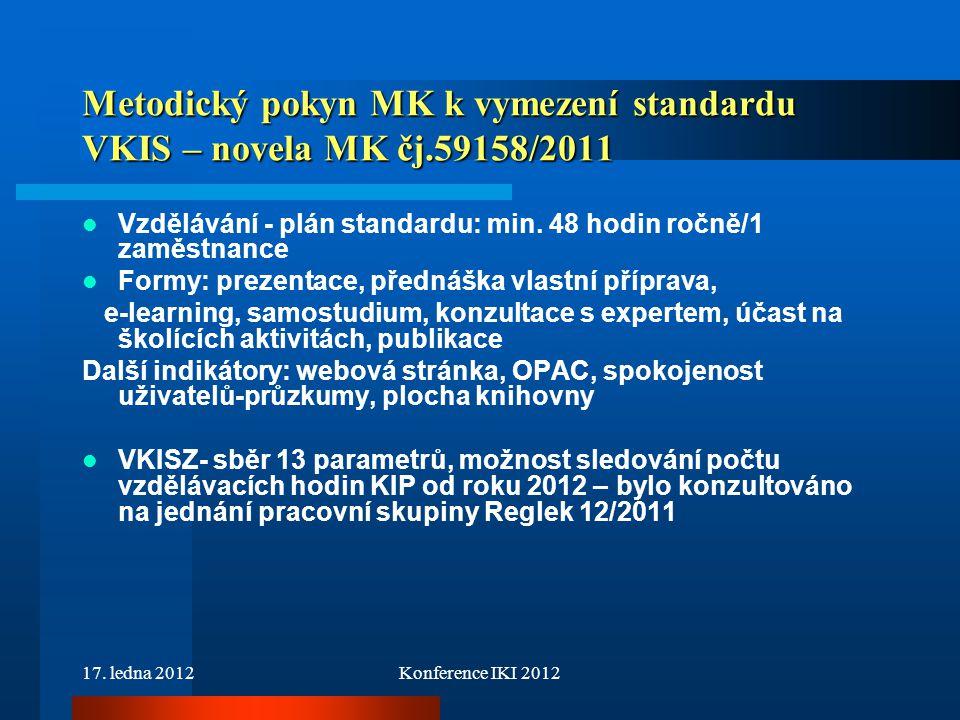 17. ledna 2012Konference IKI 2012 Metodický pokyn MK k vymezení standardu VKIS – novela MK čj.59158/2011 Vzdělávání - plán standardu: min. 48 hodin ro