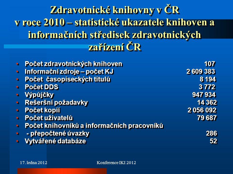 17. ledna 2012Konference IKI 2012 Počet zdravotnických knihoven 107Počet zdravotnických knihoven 107 Informační zdroje – počet KJ 2 609 383Informační