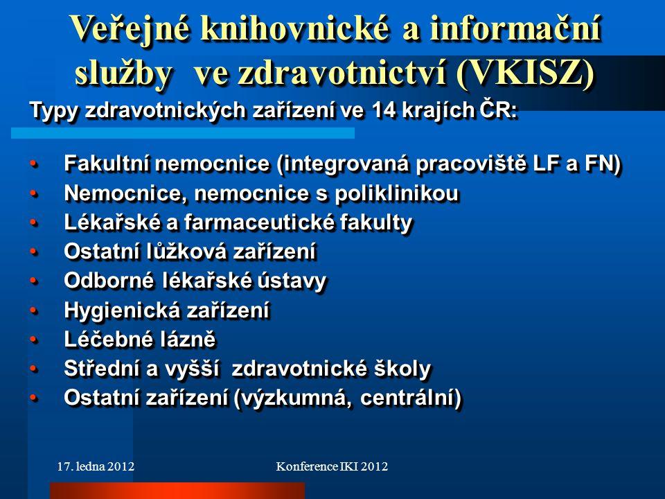 17. ledna 2012Konference IKI 2012 Typy zdravotnických zařízení ve 14 krajích ČR: Fakultní nemocnice (integrovaná pracoviště LF a FN)Fakultní nemocnice