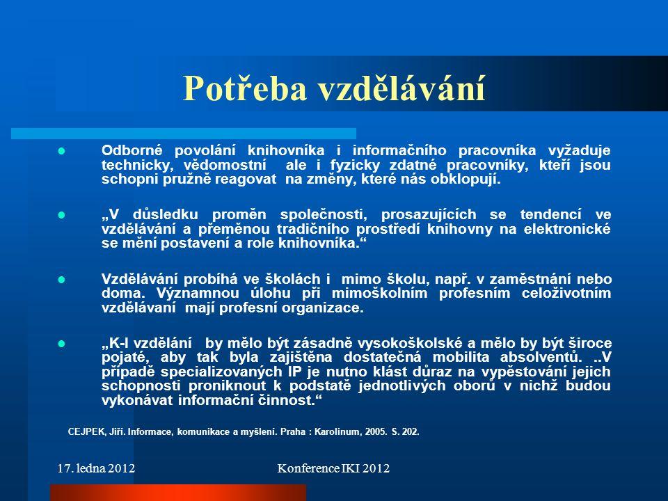 17. ledna 2012Konference IKI 2012 Potřeba vzdělávání Odborné povolání knihovníka i informačního pracovníka vyžaduje technicky, vědomostní ale i fyzick