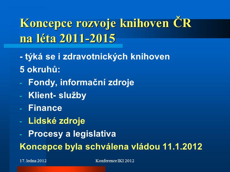 17. ledna 2012Konference IKI 2012 Koncepce rozvoje knihoven ČR na léta 2011-2015 - týká se i zdravotnických knihoven 5 okruhů: - Fondy, informační zdr