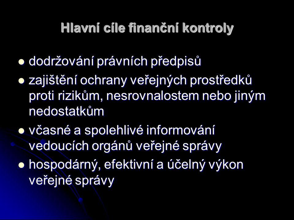 Hlavní cíle finanční kontroly dodržování právních předpisů dodržování právních předpisů zajištění ochrany veřejných prostředků proti rizikům, nesrovna