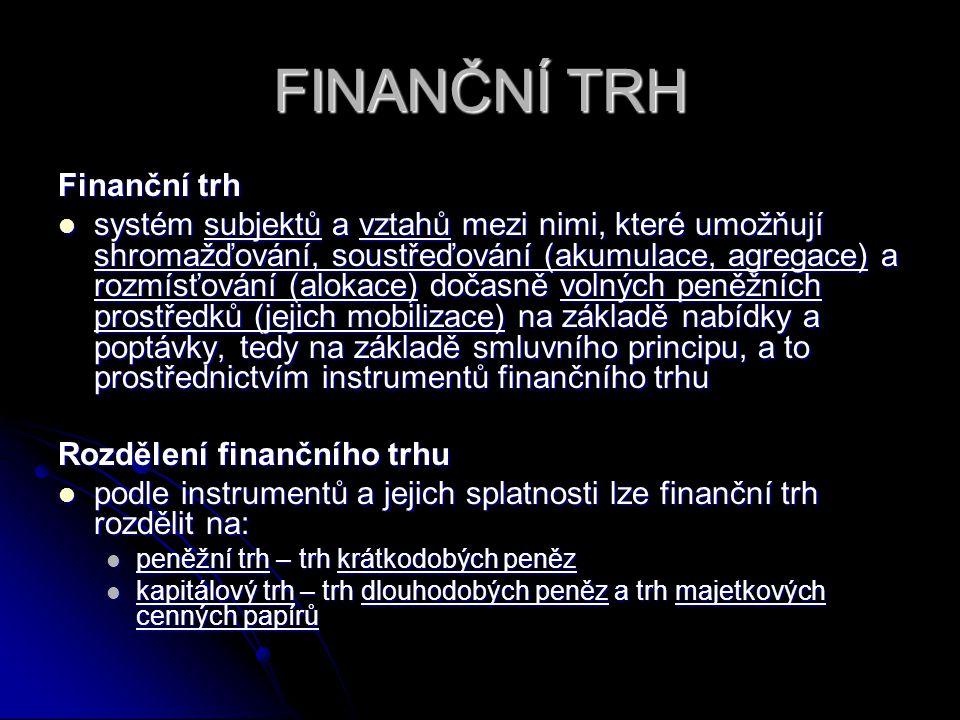 FINANČNÍ TRH Finanční trh systém subjektů a vztahů mezi nimi, které umožňují shromažďování, soustřeďování (akumulace, agregace) a rozmísťování (alokac